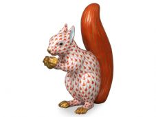 Herend Porcelain Fishnet Figurine of a Red Squirrel